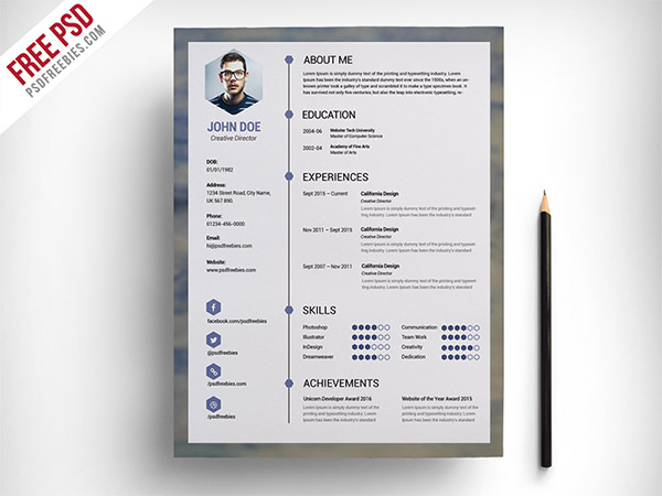 clean resume psd