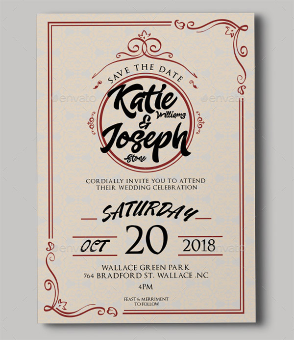 retro invitation wedding