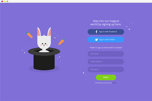 bunny sign up page
