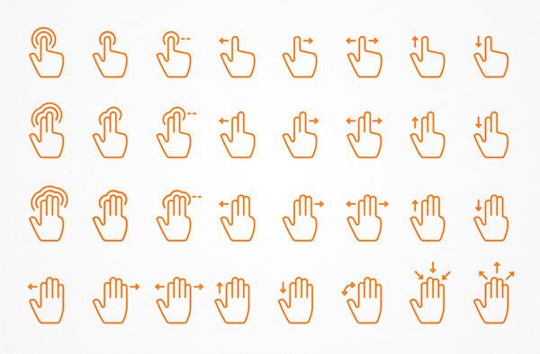 line touch gestures
