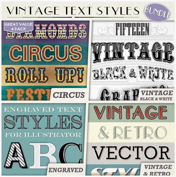 vintage text illustrator
