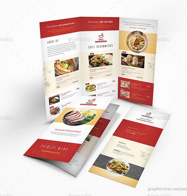 Asian trifold menu
