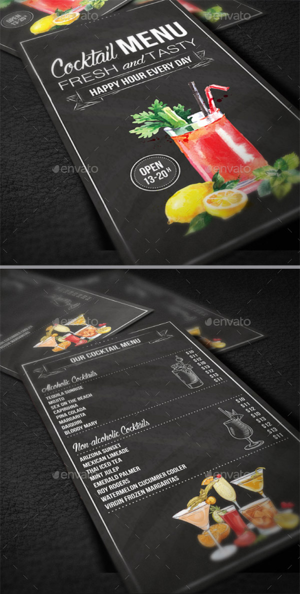 black cocktail menu