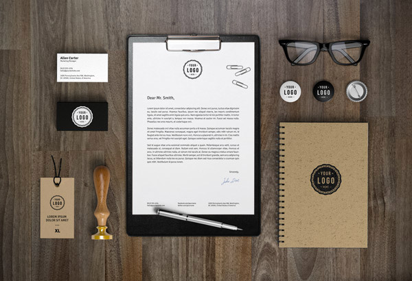 clean stationery identity