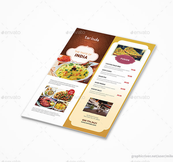 menu flyers template