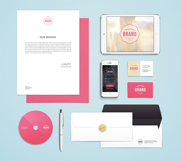 mockups stationery items