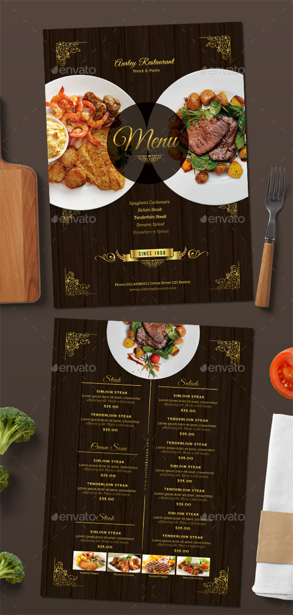 luxury restaurant menu