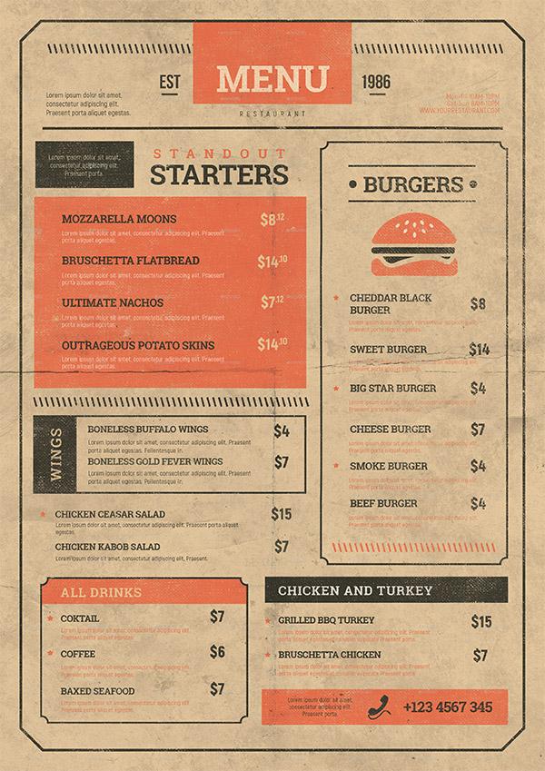 old style menu