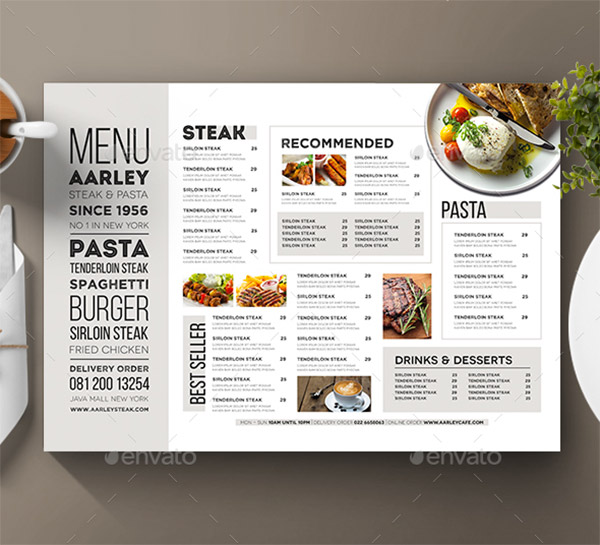 White Menu Template  A La Carte Menu Template