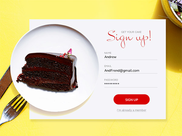 food signup form
