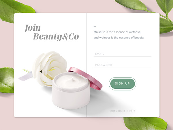 beauty site singup