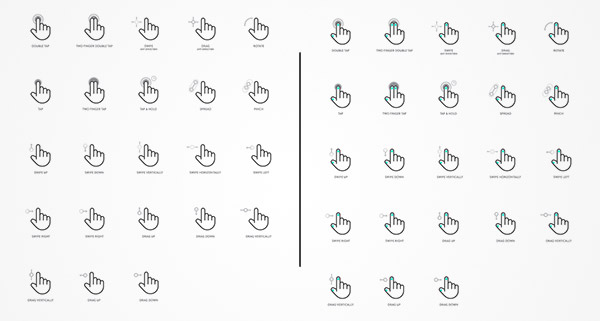 outline gesture icons