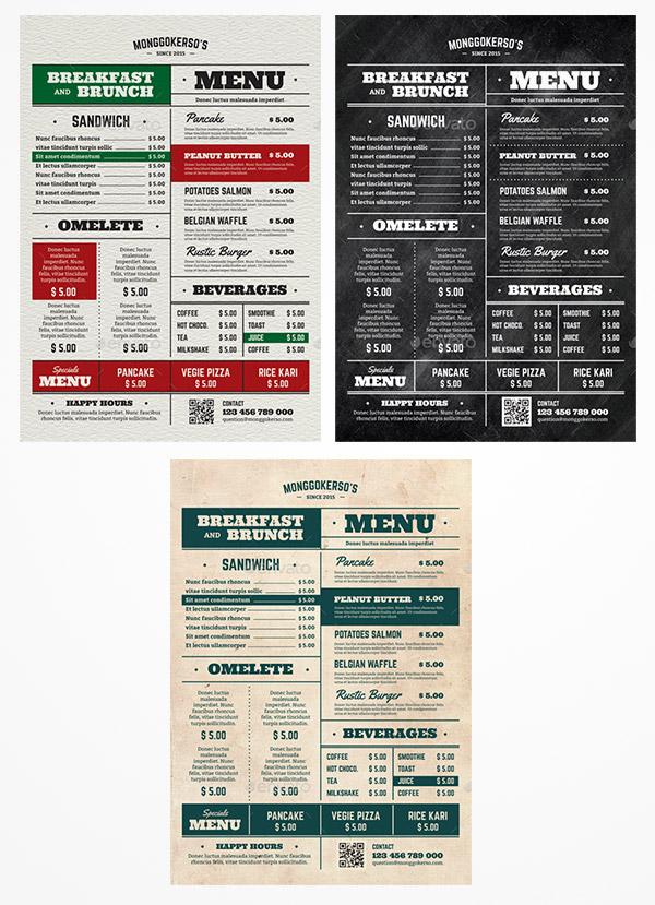 food menu premium