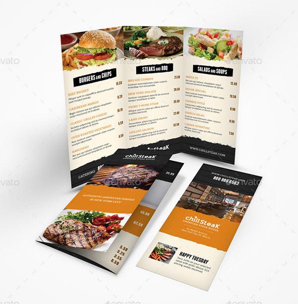 menu print template