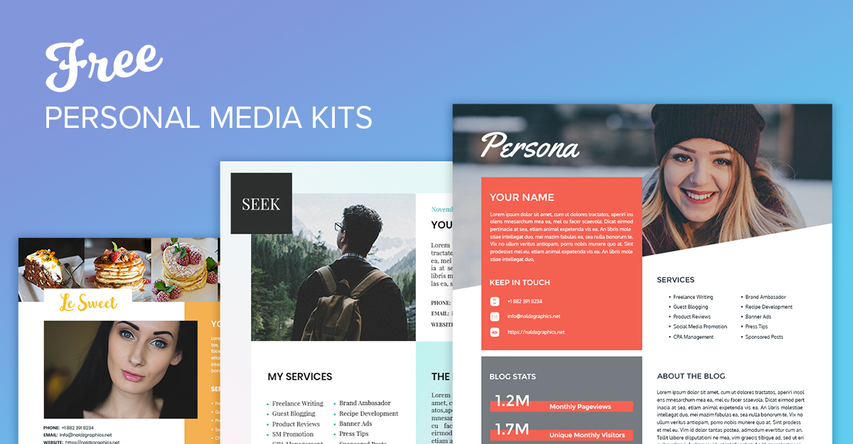 3 Free PSD Personal Media Kits