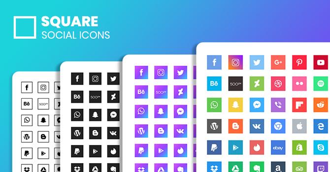 190+ Free Square Social Icons
